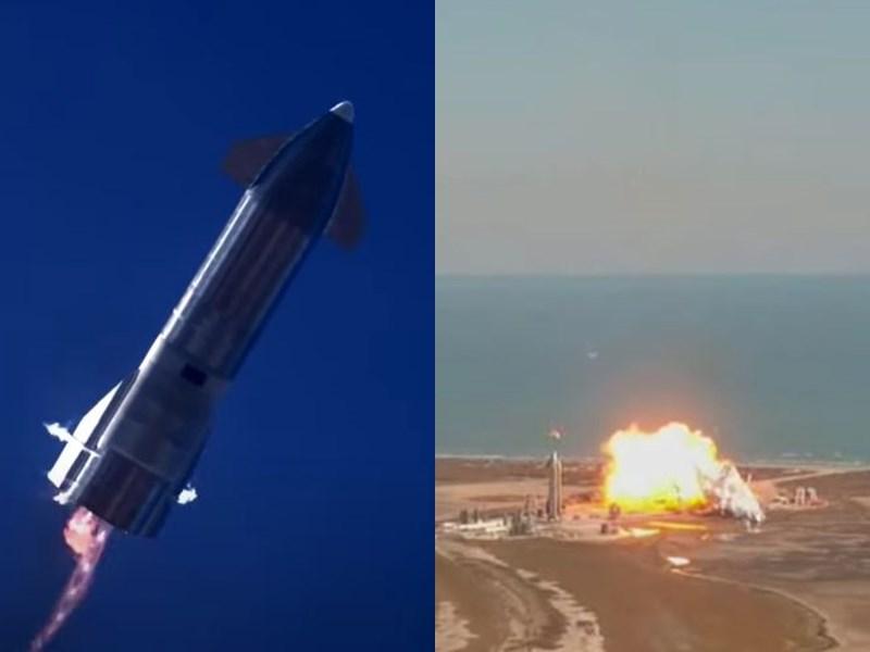 美國太空探索科技公司火箭原型2日在德州完成試飛後,在嘗試垂直降落時爆炸化為火球。(圖取自SpaceX YouTube網頁youtube.com)