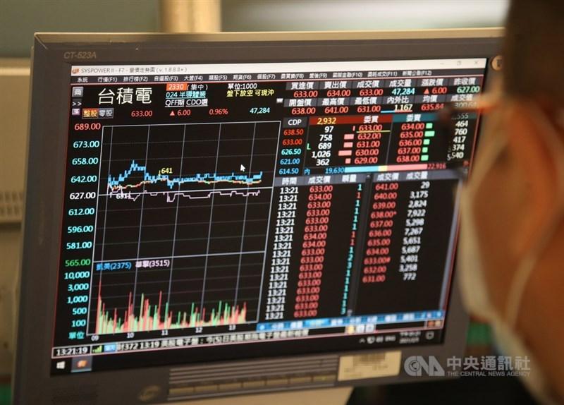台股鼠年5日封關,台積電股價收在新台幣632元,市值達16.38兆元。中央社記者張新偉攝 110年2月5日