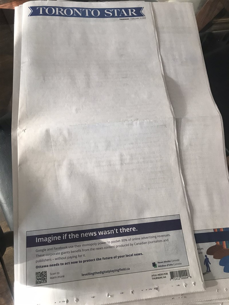加拿大新聞媒體協會串聯國內多家報媒發起「消失的頭條」運動,抗議Google與臉書等社群媒體攫取絕大部分的廣告收益。(圖取自twitter.com/robertbenzie)