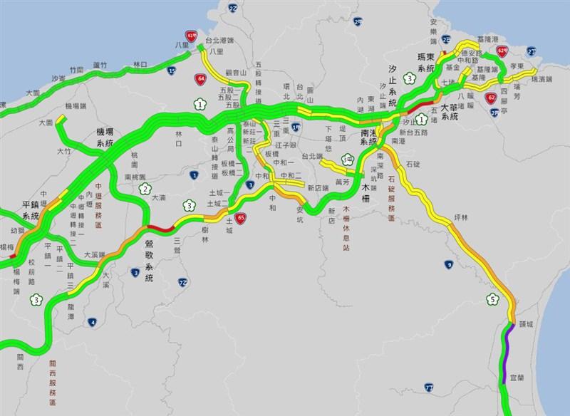 交通部高速公路局預計,15日下午起包括國1北向西螺-埔鹽系統、南屯-后里、國5北向宜蘭至坪林等11路段,可能出現車多情形。(圖取自高速公路1968網頁1968.freeway.gov.tw)
