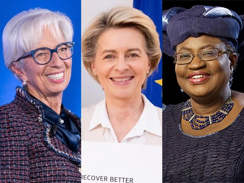 近年國際重要組織女性領導人漸增,研究顯示越多女性登上國際政治權力高位,長期將激勵更多女性在職場走向領導職位。圖左起為歐洲中央銀行總裁拉加德、歐盟執行委員會主席范德賴恩、WTO秘書長伊衛拉。(左圖取自twitter.com/Lagarde,中圖取自twitter.com/vonderleyen,右圖取自twitter.com/wto)