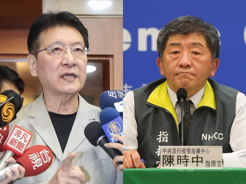 對於中廣董事長趙少康(左)批評疫情指揮中心向德國BNT購買疫苗偷雞摸狗。指揮官陳時中(右)18日回應「跟總公司談是偷雞摸狗,那就不知道什麼是正當了」。(中央社檔案照片)