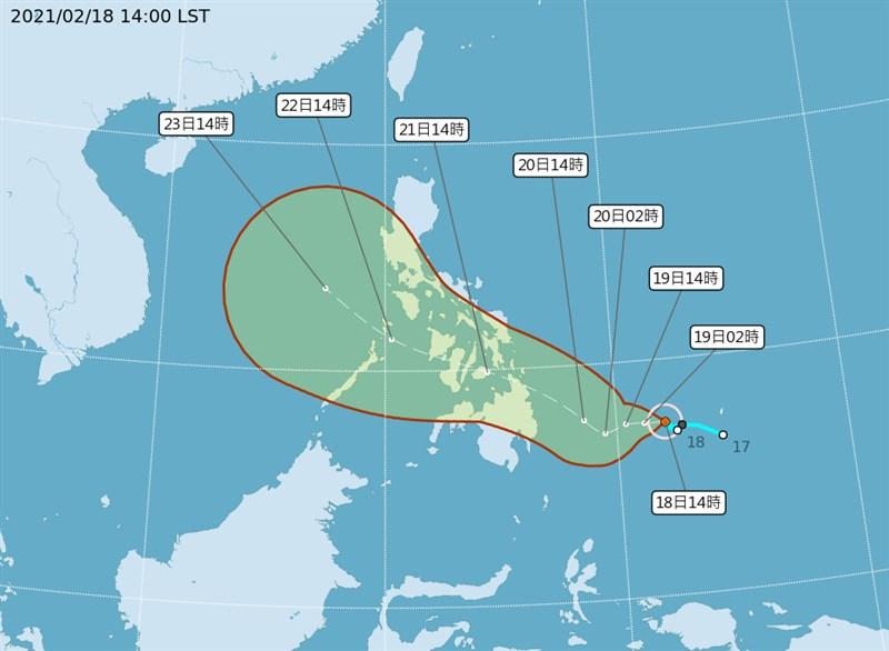 氣象局18日發布輕颱杜鵑生成訊息,預測將通過菲律賓往南海移動,杜鵑對台無直接影響。(圖取自中央氣象局網頁cwb.gov.tw)