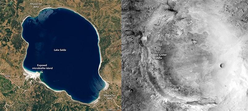 土耳其薩爾達湖是地球上已知唯一有類似火星杰哲羅隕石坑的碳酸鹽和沉積特徵的湖泊。圖為2020年的薩爾達湖(左)和2017年的Jezero火山口(右)。(圖取自twitter.com/NASAEarth)