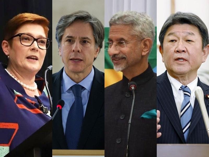 由美國、日本、印度和澳洲組成的「四方安全對話」18日舉行電話會議。圖左起為澳洲外長潘恩、美國國務卿布林肯、印度外長蘇杰生及日本外務大臣茂木敏充。(圖左1取自facebook.com/senatormarisepayne,左2取自twitter.com/ABlinken,右2取自twitter.com/DrSJaishankar,右1共同社)