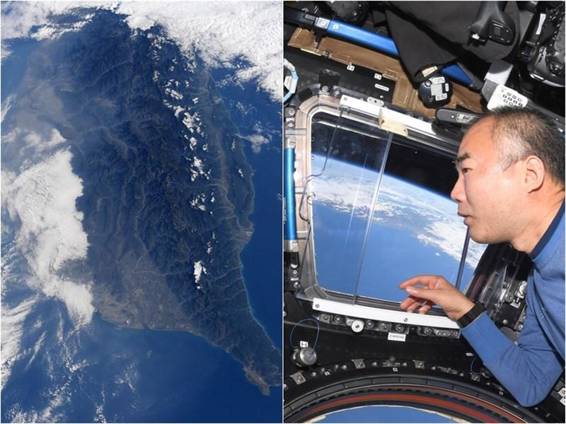 日籍太空人野口聰一19日分享的從國際太空站看台灣,主角是台南市空拍照,二度入鏡的台南市及高雄市上空晴空萬里。(圖取自twitter.com/astro_soichi)