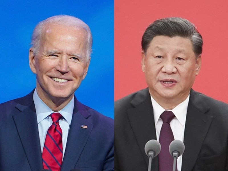 中國國家主席習近平(右)應美國總統拜登(左)邀請,將於22日在北京以視訊方式出席氣候變遷領袖峰會並發表談話。(左圖取自facebook.com/POTUS,右圖中新社)