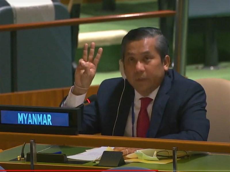 緬甸駐聯合國大使覺莫敦(圖)26日代表翁山蘇姬的民選政府向聯合國呼籲「動用任何必要手段」阻止軍事政變。(圖取自United Nations YouTube頻道)