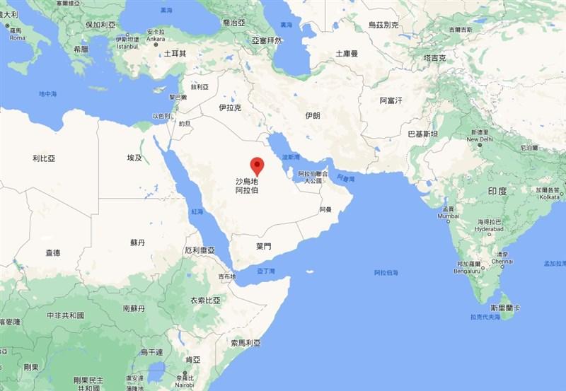 多起爆炸巨響28日撼動沙烏地阿拉伯首都利雅德(紅標處),沙國領導的軍事聯盟表示,他們阻止了葉門叛軍「青年運動」發動的飛彈攻擊。(圖取自Google地圖網頁google.com.tw/maps)