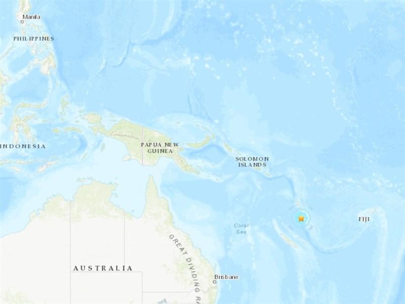 大洋洲國家萬那杜1日發生規模5.9地震,震央位於首都維拉港以西90公里處(星號處)。(圖取自美國地質研究所網頁earthquake.usgs.gov)