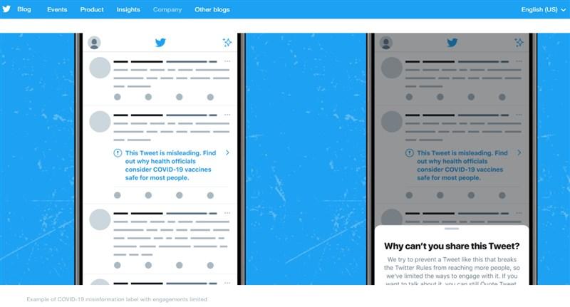 社群網站推特表示,將開始標註有誤導性的疫苗相關推文,並封鎖持續散播假消息的用戶。(圖取自推特部落格網頁blog.twitter.com)
