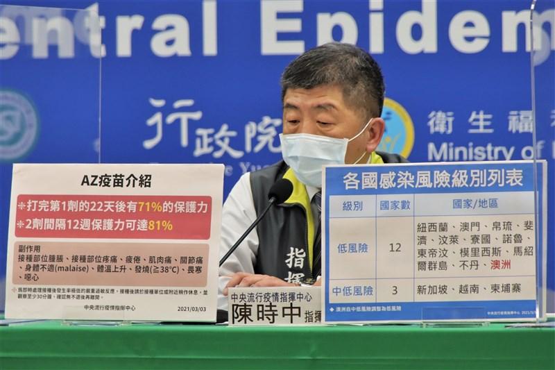 首批牛津AZ疫苗3日抵台,疫情指揮中心指揮官陳時中表示,他也是上午9時才接獲訊息。(中央流行疫情指揮中心提供)