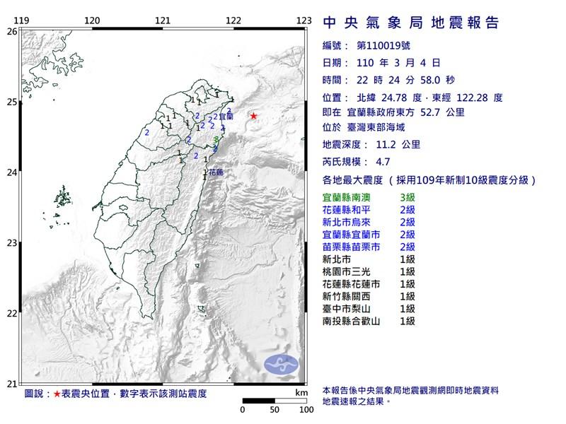 台灣東部海域4日晚間10時24分發生芮氏規模4.7地震,最大震度宜蘭縣3級。(圖取自中央氣象局網頁cwb.gov.tw)