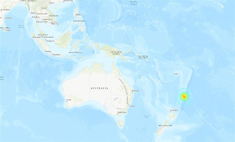 紐西蘭克馬得群島外海5日發生規模8.1強震。(圖取自美國地質調查所網頁earthquake.usgs.gov)