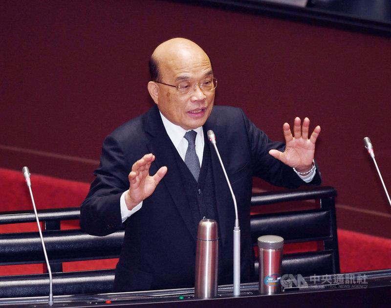 行政院長蘇貞昌5日在立法院表示,若有中國軍機擾台,空軍一定在6分鐘內起飛,國軍準備充分,絕對不會讓包括中國在內的任何國家侵門踏戶,請國人放心。中央社記者施宗暉攝  110年3月5日