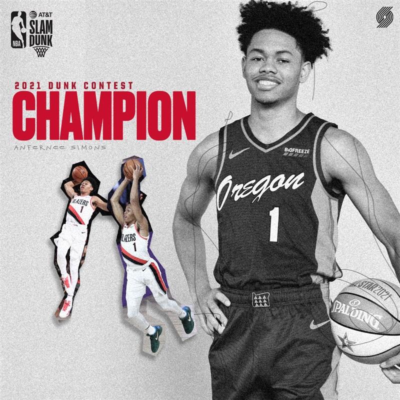 波特蘭拓荒者年輕小將塞門斯7日在NBA明星賽摘下灌籃大賽冠軍。(圖取自twitter.com/trailblazers)