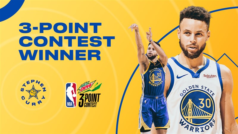 金州勇士球星柯瑞7日在NBA明星賽的三分球大賽決賽摘下冠軍。(圖取自twitter.com/warriors)