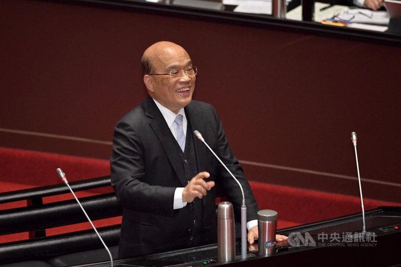 行政院長蘇貞昌(圖)9日在立法院總質詢時,就國民黨立委蔣萬安針對出生率偏低提問進行答覆。中央社記者王飛華攝  110年3月9日