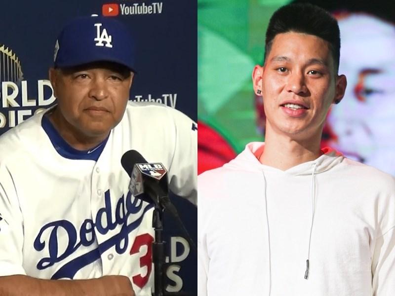 亞裔美籍人士受歧視狀況在近期變得更嚴重,道奇總教練羅伯茲(左)站出來為亞裔發聲,坦言是受到台裔球星林書豪(右)的啟發。(中央社檔案照片)