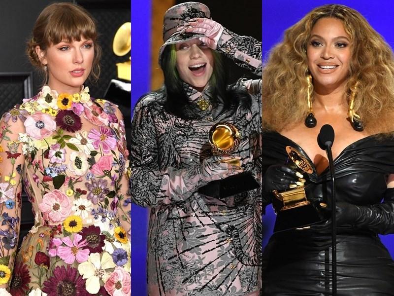 葛萊美獎頒獎典禮大獎14日出爐,泰勒絲(左)勇奪最佳年度專輯獎,怪奇比莉(中)最佳年度唱片獎,碧昂絲(右)則拿下第28座葛萊美獎,成為葛萊美獎史上得獎數最多女藝人。(圖取自instagram.com/recordingacademy)