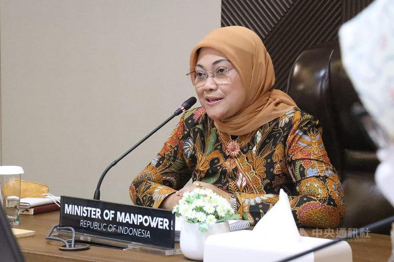 印尼勞動部部長伊達18日與中華民國駐印尼代表陳忠舉行視訊會議,討論400名印尼漁工因台灣邊境管制而滯留外海等議題。(印尼勞動部提供)中央社記者石秀娟雅加達傳真 110年3月18日