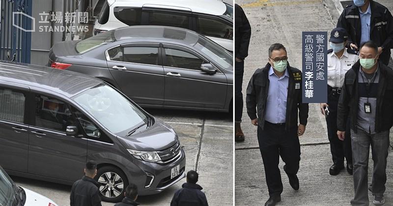 因外逃而被中國判刑的12名港人中,8人服刑期滿,22日被執法機關移交香港警方。圖為一輛警方七人車抵達天水圍警署。(圖取自立場新聞)