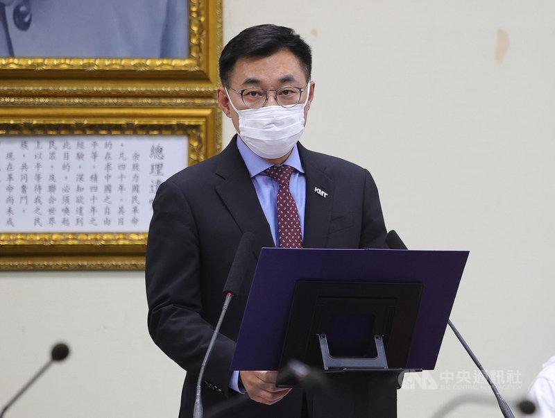 國民黨24日下午舉行中常會,黨主席江啟臣致詞時呼籲國防部正視國軍的飛行安全,儘速查明事發原因,避免憾事一再發生。中央社記者謝佳璋攝  110年3月24日