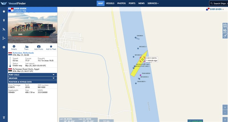 長榮貨櫃輪長賜輪23日意外觸底擱淺在蘇伊士運河,造成運河雙向大阻塞。(圖取自Vessel Finder網頁vesselfinder.com)