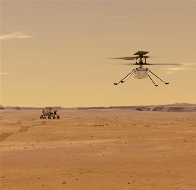 美國國家航空暨太空總署表示,目標4月初讓「創新號火星直升機」展開嘗試。圖為「創新號火星直升機」在火星上飛行的模擬圖。(圖取自NASA火星探索計畫網頁mars.nasa.gov)
