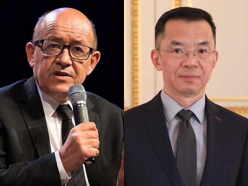 法國外長勒德里安(左)23日召見中國駐法大使盧沙野(右)。消息人士透露,盧沙野才想要提及台灣,就被勒德里安打斷。(左圖取自維基共享資源;作者Ecole polytechnique Université Paris-Saclay,CC BY-SA 2.0,右圖取自facebook.com/AmbassadeChine)