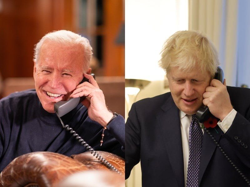 美國總統拜登(左)表示,他26日與英相強生(右)通話時建議,民主國家應有一套基礎建設計畫來對抗中國「一帶一路」計畫。(左圖取自facebook.com/POTUS、右圖取自facebook.com/borisjohnson)