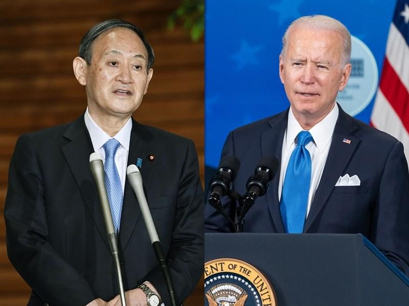 日本經濟新聞獲悉,日本首相菅義偉(左)4月訪問華府,與美國總統拜登(由)舉行峰會,兩國計劃申明台灣海峽穩定的重要性。(左圖為共同社,右圖取自facebook.com/WhiteHouse)