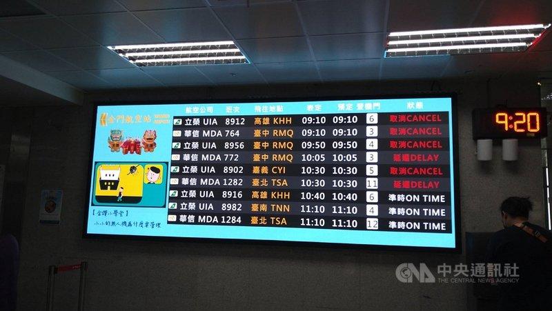 金門1日濃霧瀰漫,尚義機場上午關場,班機幾乎全部取消;航空站預估中午才能恢復正常起降。(民眾提供)中央社記者黃慧敏傳真  110年4月1日