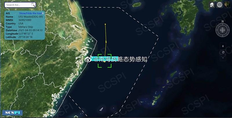 中國智庫「南海戰略態勢感知計畫」在微博上指,美軍驅逐艦馬斯廷號3日凌晨出現在東海長江口海域,「針對性明顯」。圖為智庫公布的馬斯廷號航行軌跡。(取自「南海戰略態勢感知計畫」微博)中央社 110年4月4日