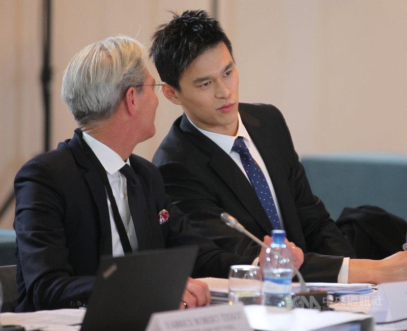 國際體育仲裁法庭(CAS)將在5月24至28日為中國泳將孫楊涉及禁藥的案件,舉行第2次聽證會。圖為孫楊在2019年出席國際體育仲裁法庭的公開聽證會。(中新社提供)中央社  110年4月4日