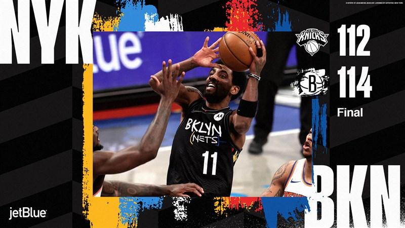 NBA布魯克林籃網球星厄文(中)5日狂轟40分,包括最後一分鐘時投進一記關鍵三分球,帶領籃網逆轉險勝紐約尼克。(圖取自twitter.com/BrooklynNets)