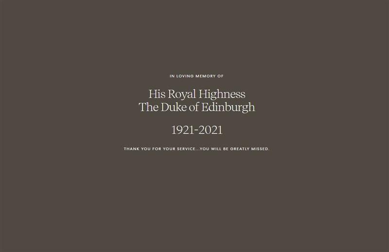 英國女王伊麗莎白二世的丈夫菲立普親王9日辭世,享耆壽99歲。Archewell基金會在官方網站取消所有頁面連結和選單,僅在深色背景寫下幾行字:「緬懷愛丁堡公爵殿下(1921-2021)。謝謝您的奉獻,我們會非常想念您。」(圖取自Archewell基金會網頁archewell.com)
