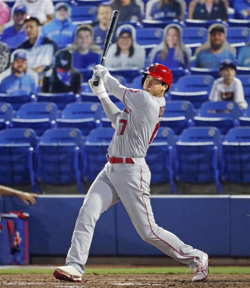 大聯盟MLB洛杉磯天使隊的日籍球星大谷翔平,9日敲出大聯盟生涯第50轟。(共同社)