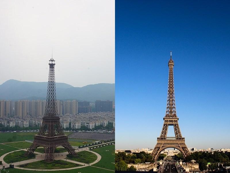 中國山寨建築遍地開花,杭州出現複製版艾菲爾鐵塔(左),中國人不用出國就可以看到國際著名建築。右圖位在法國的艾菲爾鐵塔。(左圖取自維基共享資源;作者MNXANL,CC BY-SA 4.0、右圖取自Pixabay圖庫)