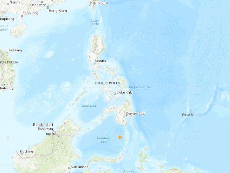 菲律賓沙蘭加尼省南南西方214公里處海域10日發生規模6.1地震。星號處為震央。(圖取自美國地質調查所網頁earthquake.usgs.gov)