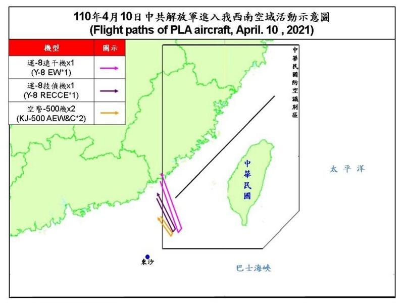 共機3日起連續8天擾台,空軍10日發布共機動態,4架共機侵犯台灣西南防空識別區。(圖取自國防部網頁mnd.gov.tw)