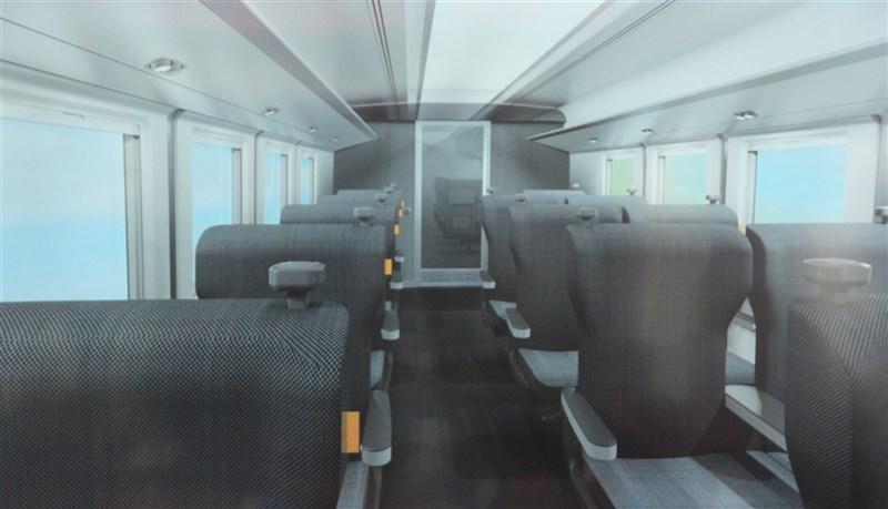 台鐵新採購的600輛城際列車107年底由日商得標,內裝座位以黑白灰色調呈現。圖為商務座位設計圖。(翻攝照片)中央社記者張祈傳真 108年11月30日