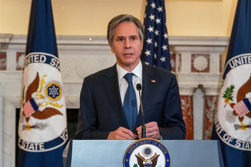 美國國務卿布林肯11日表示,華府認真關切中國對台灣的步步進逼行為。(美國國務院提供)
