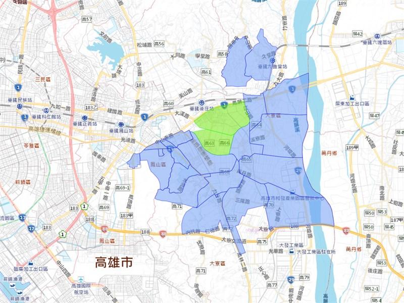 台灣自來水公司12日指出,翁公園淨水場不明原因跳電致無法供水,影響戶數3萬411戶。圖藍色為停水區域,綠色為降壓區域。(圖取自台灣自來水公司網頁www.water.gov.tw)