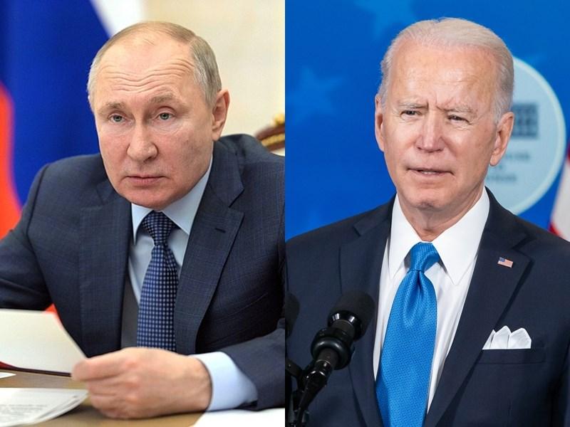 美國總統拜登(右)13日在與俄羅斯總統蒲亭(左)通話時,表達對俄羅斯在烏克蘭邊境集結兵力的關切。(左圖取自克里姆林宮網頁en.kremlin.ru;右圖取自Flickr,版權屬公眾領域)