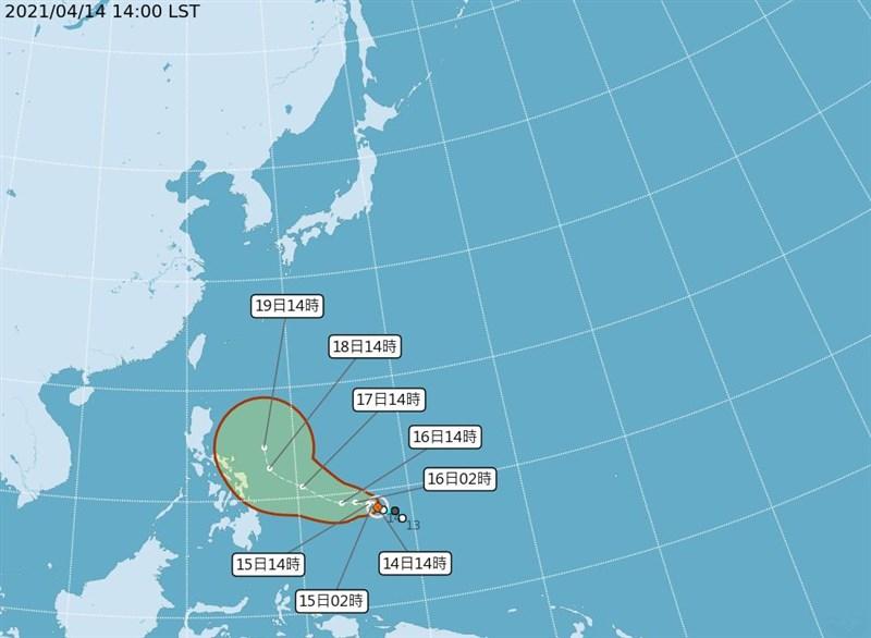 中央氣象局表示,由於環境適合颱風舒力基發展,不排除在16日接近菲律賓時會升格為中颱、18日左右達強颱等級。(圖取自氣象局網頁cwb.gov.tw)
