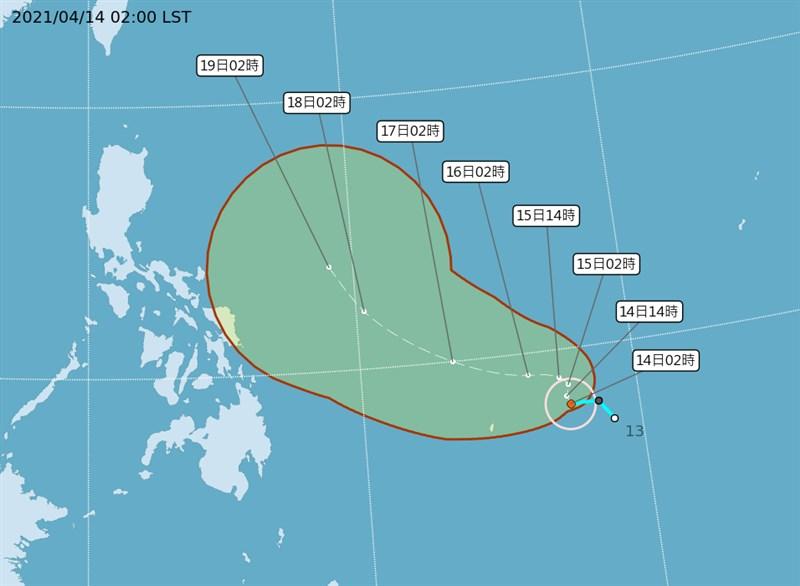 菲律賓東南方遠海的熱帶性低氣壓14日凌晨增強為今年第2號颱風「舒力基」。(圖取自中央氣象局網頁cwb.gov.tw)