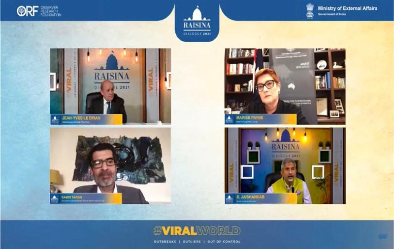 印度外交部長蘇杰生14日與法國和澳洲外長透過視訊出席瑞辛納對話的三國外長討論時強調,四方安全對話不是「亞洲版北約」。(圖取自twitter.com/DrSJaishankar)
