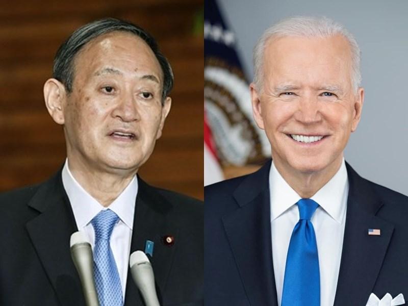 日本首相菅義偉(左)16日動身前往華府會晤美國總統拜登(右),兩人將談及中國及安全議題。(左為共同社,右取自facebook.com/POTUS)