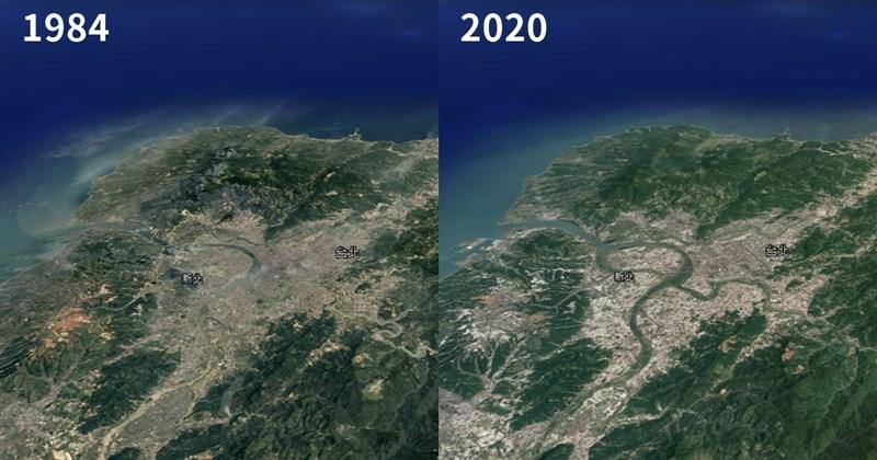 透過Google Earth的縮時攝影功能,使用者可以透過搜尋列選擇地球上任何一個地方,並觀看該地的縮時變化。圖為台北、新北1984年和2020年的衛星影像比較圖。(圖取自Google Earth網頁earth.google.com)